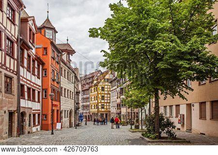 Nuremberg, Germany - May 17, 2016:  Street in Nuremberg with old half-timbered houses