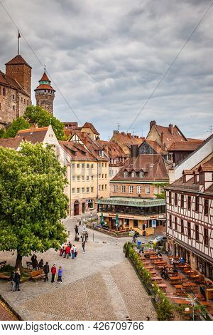 Nuremberg, Germany - May 17, 2016:  Square in the old town of Nuremberg. Landmark of the city, cityscape