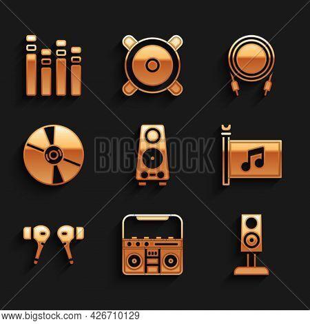 Set Stereo Speaker, Home Stereo With Speakers, Music Festival Flag, Air Headphones, Cd Or Dvd Disk,