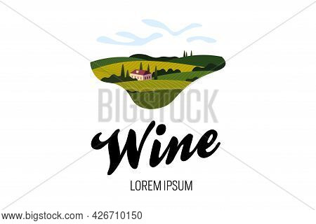 Vineyard Wine Grape Hill Farm Logo Concept. Romantic Rural Landscape In Sunny Day With Villa, Vineya