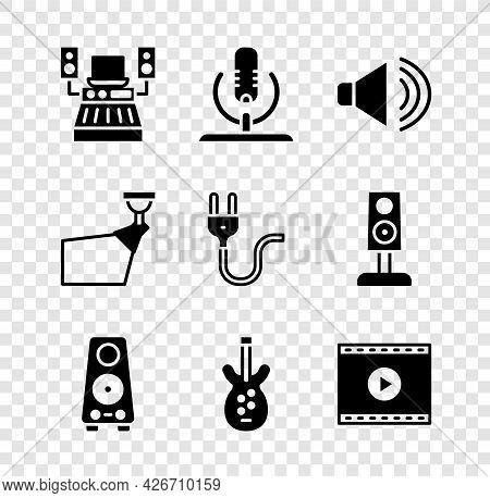 Set Music Recording Studio, Microphone, Speaker Volume, Stereo Speaker, Electric Bass Guitar, Online