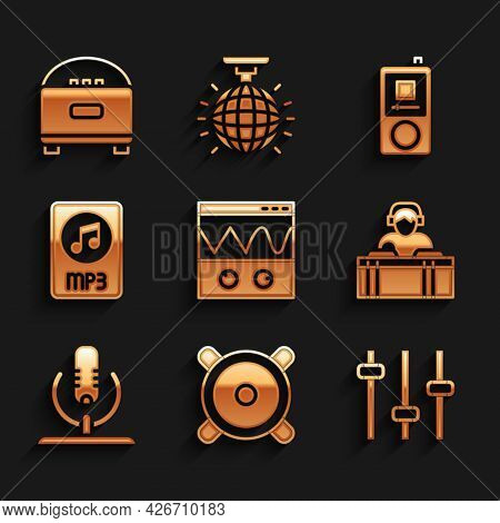 Set Oscilloscope, Stereo Speaker, Music Equalizer, Dj Playing Music, Microphone, Mp3 File Document,
