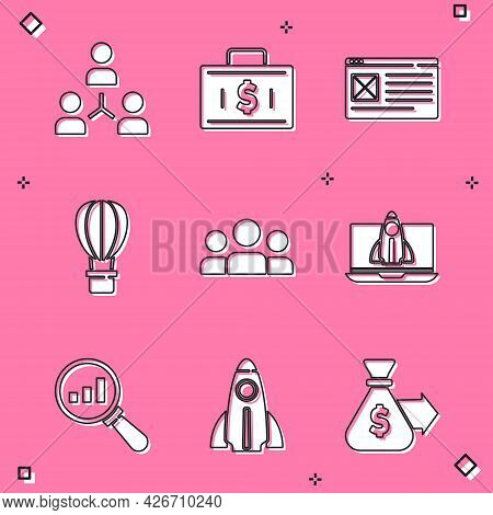 Set Project Team Base, Briefcase And Money, Browser Window, Hot Air Balloon, Users Group, Startup Pr