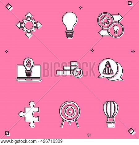 Set Project Team Base, Light Bulb With Concept Of Idea, Human Resources, Dollar Laptop, Financial Gr
