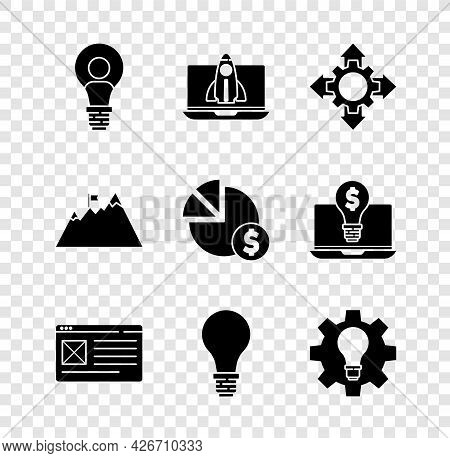 Set Head With Lamp Bulb, Startup Project Concept, Project Team Base, Browser Window, Light Of Idea,