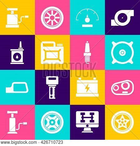 Set Car Wheel, Headlight, Audio Speaker, Speedometer, Canister For Motor Oil, Air Pump And Spark Plu