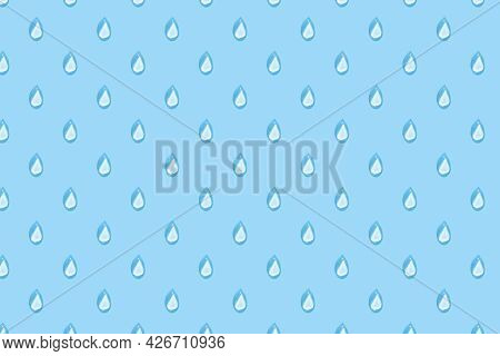 Raindrops On Blue Pattern. Background Of Water Drops In Row. Rain Drop Geometric Simple Seamless