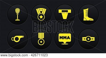 Set Whistle, Sport Boxing Shoes, Medal, Fight Club Mma, Groin Guard, Boxing Belt And Punching Bag Ic