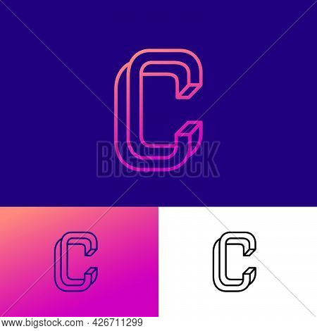 Impossible Letter C. Elegant C Monogram Consist Of Thin Lines. Letter Can Use For Business, Internet