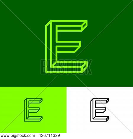 Impossible Letter E. Elegant E Monogram Consist Of Thin Lines. Letter Can Use For Business, Internet