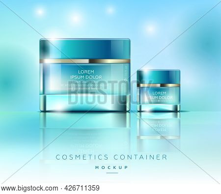 Elegancy Jars For Cream. Elegant Cosmetics Packaging Mockup. Templates For Cosmetics Containers.