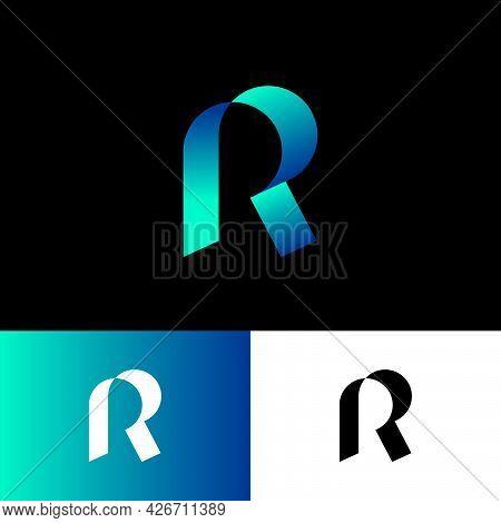R Origami Logo. R Letter Like Silk Ribbon Or Paper Strip. Icon For Business, Internet, Web Applicati