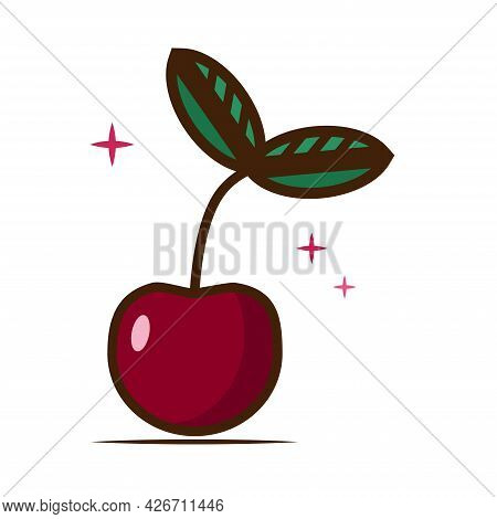 Cherry Vector Icon In A Flat Style. Sweet Red Berry. Ripe Fruit. Summer Berry.