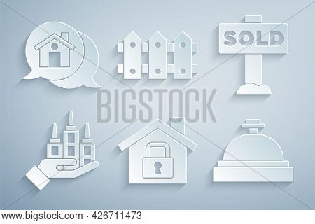 Set House Under Protection, Hanging Sign With Text Sold, Skyscraper, Hotel Service Bell, Garden Fenc