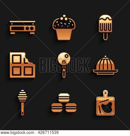 Set Lollipop, Macaron Cookie, Cutting Board, Pudding Custard, Honey Dipper Stick, Chocolate Bar, Ice
