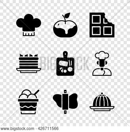 Set Chef Hat, Apple In Caramel, Chocolate Bar, Ice Cream Bowl, Rolling Pin On Dough, Pudding Custard