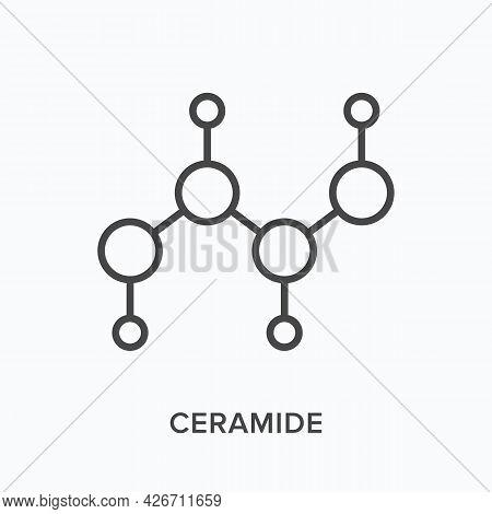 Ceramide Mask Flat Line Icon. Vector Outline Illustration Of Molecular Formula. Black Thin Linear Pi