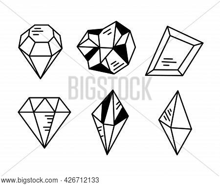 Crystals Or Gemstones Cliparts Bundle, Gem Collection, Jewelry Stone Or Diamond Set, Black And White