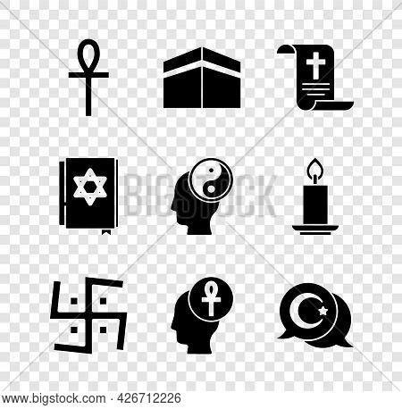 Set Cross Ankh, Kaaba Mosque, Decree, Paper, Parchment, Scroll, Hindu Swastika, Star And Crescent, J