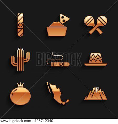 Set Cigar, Map Of Mexican, Volcano Eruption With Lava, Mexican Sombrero, Tomato, Cactus, Maracas And