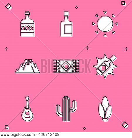 Set Tequila Bottle, Sun, Volcano Eruption With Lava, Mexican Carpet, Tabasco Sauce, Guitar And Cactu