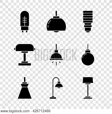 Set Light Emitting Diode, Chandelier, Led Light Bulb, Lamp Hanging, Floor Lamp, Table And Icon. Vect