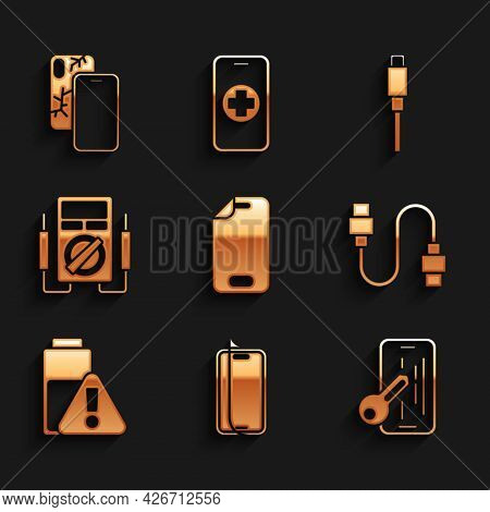 Set Glass Screen Protector, Usb Cable Cord, Smartphone Battery Charge, Multimeter, And Mobile With B