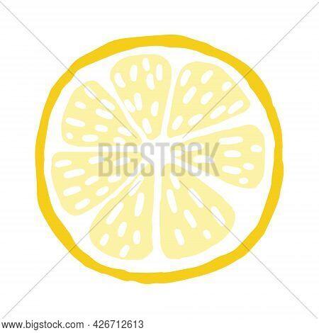 Round Lemon Slice. Yellow Summer Citrus Cut. Hand Drawn Cartoon Tropical Juicy Sliced Fruit. Stock V
