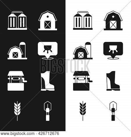 Set Udder, Farm House, Granary, Well, Waterproof Rubber Boot, Shovel And Wheat Icon. Vector