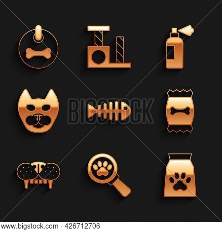 Set Fish Skeleton, Veterinary Clinic, Bag Of Food For Pet, Cat Tooth, Pet Shampoo And Dog Collar Ico