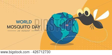 World Mosquito Day With Mosquito Cartoon Drinking Blood From Globle On Yellow Background Vector Desi