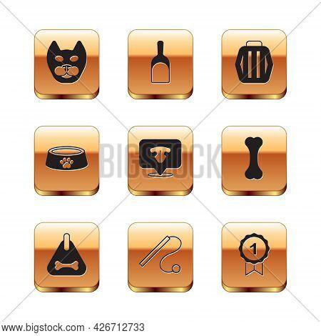 Set Cat, Dog Collar, Pet Cat Toy, Nose, Food Bowl, Carry Case, Award Symbol And Dustpan Icon. Vector