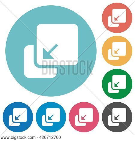 Collapse Element Flat White Icons On Round Color Backgrounds