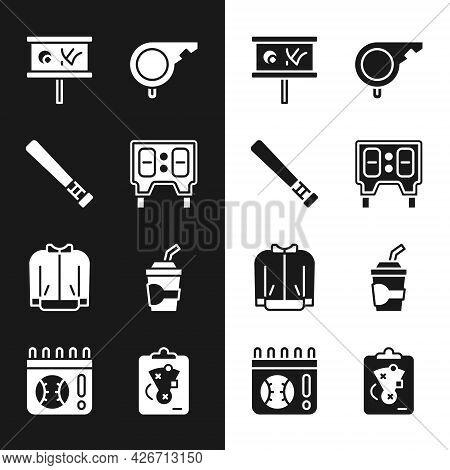 Set Baseball Mechanical Scoreboard, Bat, Planning Strategy, Whistle, T-shirt, Paper Glass With Water