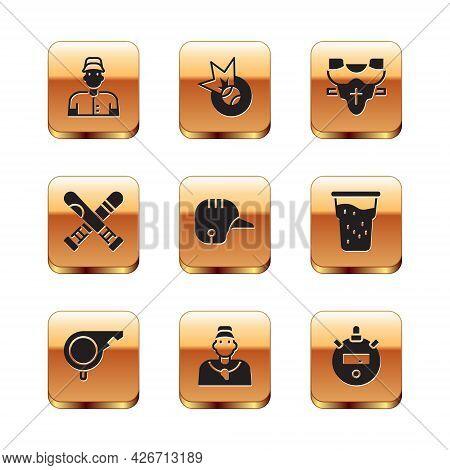 Set Baseball Player, Whistle, Coach, Helmet, Crossed Baseball Bat, Player Chest Protector, Stopwatch