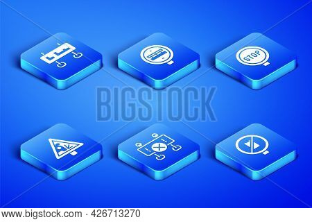Set No Cell Phone, Road Traffic Sign, Barrier, Warning Road, Railroad Crossing And Stop Icon. Vector
