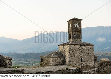Gjirokastra City In South Albania. The Most Unique And Tradional City With Unique Architechture. In