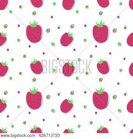 Strawberry Seamless Pattern. Strawberries And Peas. The Vector Is Made In A Flat Style. Suitable For