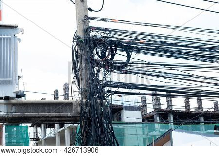 Messy Electrical Cables In Thailand - Many Lines Of Cables Chaotic Set Of Interwoven, Optical Fiber