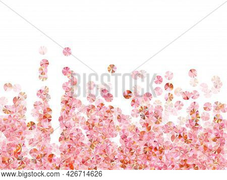 Pink Gold Paillettes Confetti Scatter Vector Composition. Valentine's Day Background Design. Metalli