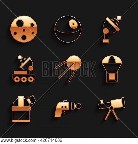 Set Satellite, Ray Gun, Telescope, Box Flying On Parachute, Astronomical Observatory, Mars Rover, Di