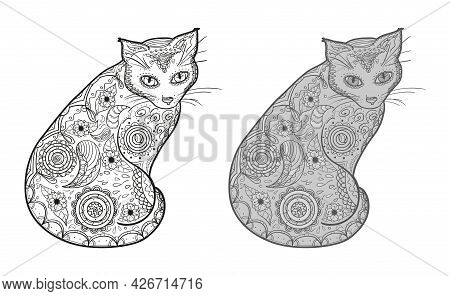 Hand Drawn Zen Cat With Abstract Patterns On Isolated Background. Different Color Options. Black And