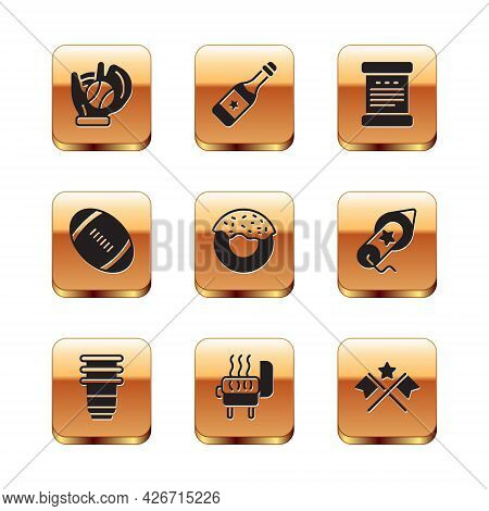Set Baseball Glove With Ball, Paper Glass, Barbecue Grill, Donut, American Football, Declaration Of