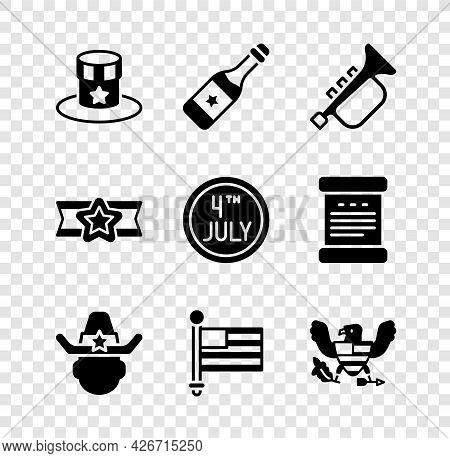 Set Patriotic American Top Hat, Champagne Bottle, Trumpet, Sheriff Cowboy, Flag, Eagle, Star Militar