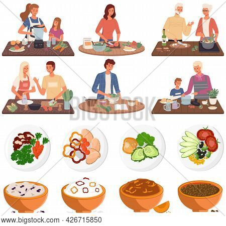 Set Of Illustrations About People Cooking Vegetarian Meals. Proper Nutrition, Healthy Lifestyle And