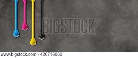 3d Cmyk Ink Drops Isolated On Dark Concrete Background. Horizontal Banner. Illustration