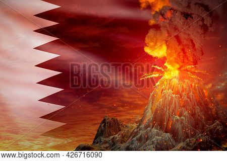 Big Volcano Blast Eruption At Night With Explosion On Qatar Flag Background, Suffer From Natural Dis