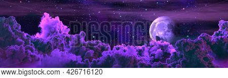 Background - Panorama Of Large Cumulus Clouds And Moon . Cgi Nature 3d Illustration