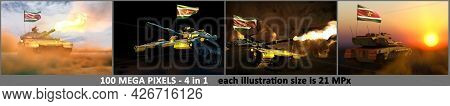 4 Images Of Detailed Tank With Not Real Design And With Suriname Flag - Suriname Army Concept With P