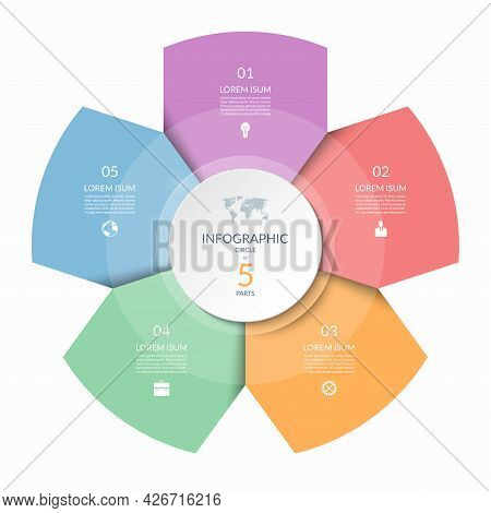 Infographic Circle, Process Chart, Cycle Diagram With 5 Steps, Parts. Five-step Vector Template For